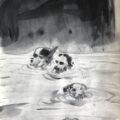 Kiarostami in river | 41x29 cm | Ink on paper | 2019